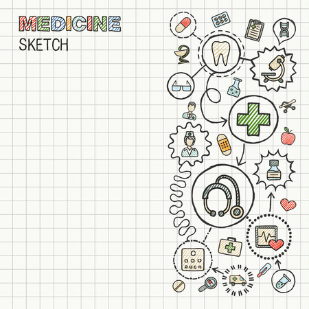 Medical hand draw integrated icon set on paper. Colorful vector sketch infographic illustration. Connected doodle color pictograms: healthcare, doctor, medicine, science, pharmacy interactive concept