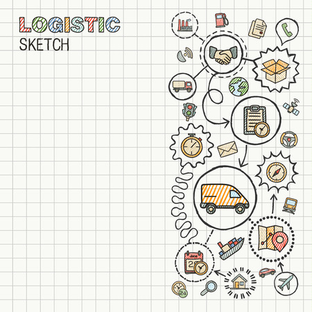 communication icons: Logistic hand draw integrated icons set on paper. Colorful vector sketch infographic illustration. Connected doodle color pictogram: distribution, shipping, transport, services interactive concept Illustration