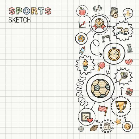 actividad: Mano Deporte dibujar iconos integrados establecidos en el papel. Dibujo vectorial colorido infografía ilustración. Conectado pictogramas de color Doodle: natación, fútbol, ??fútbol, ??juego, gimnasio, concepto de la actividad Vectores