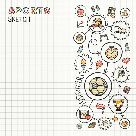 Sport hand draw integrated icons set on paper. Colorful vector sketch infographic illustration. Connected doodle color pictograms: swimming, football, soccer, game, fitness, activity concept