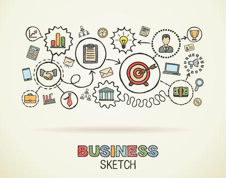 ビジネス手統合描画アイコンを設定します。カラフルなベクトルのスケッチのインフォ グラフィックの図。紙に落書き絵文字を接続: 戦略、ミッシ
