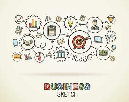 Business hand draw integrated icons set. Colorful vector sketch infographic illustration. Connected doodle pictograms on paper: strategy, mission, service, analytics, marketing, interactive concepts