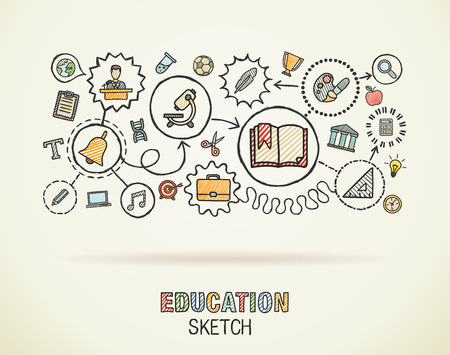 education: Education hand draw integrated icons set on paper. Colorful vector sketch infographic circle illustration. Connected doodle pictograms: social, elearn, learning, media, knowledge interactive concepts