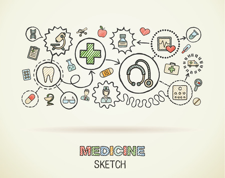 school nurse: Medical hand draw integrated icon set on paper. Colorful vector sketch infographic illustration. Connected doodle color pictograms: healthcare, doctor, medicine, science, pharmacy interactive concept