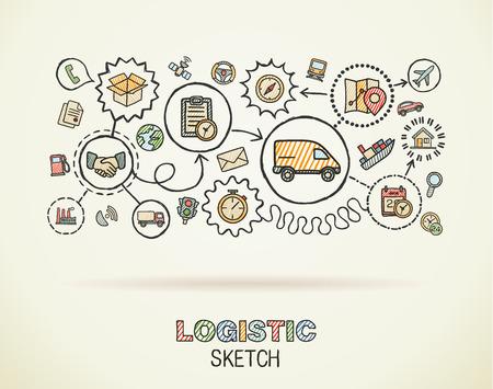 Logistieke hand tekenen geïntegreerde pictogrammen instellen op papier. Kleurrijke vector schets infographic illustratie. Connected doodle kleur pictogram: distributie, scheepvaart, transport, diensten interactief concept