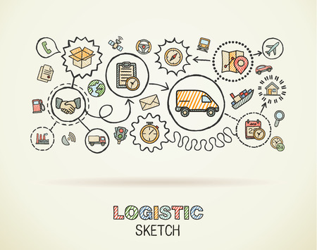 Logistic hand draw integrated icons set on paper. Colorful vector sketch infographic illustration. Connected doodle color pictogram: distribution, shipping, transport, services interactive concept Illustration