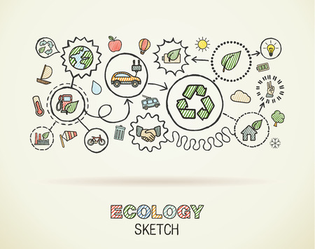 Ecology hand draw integrated icons set on squared paper. Color vector sketch infographic illustration. Connected doodle pictograms: eco friendly, bio, energy, recycle, car, planet, green concepts