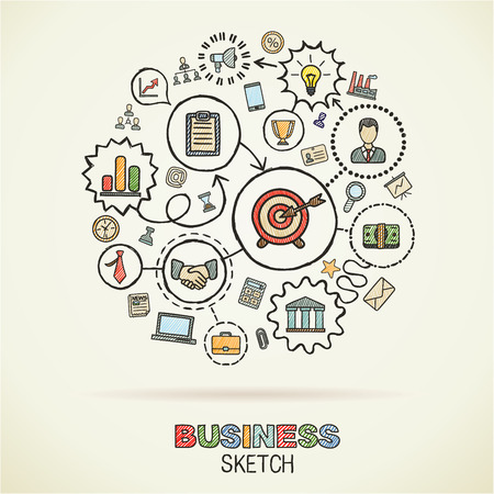 draw: Businesshand drawing integrated sketch icons. Vector doodle marketing pictogram set. Connected concept illustration on paper: finance, money, presentation, strategy, marketing, analytics, infographic.