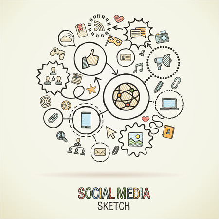 Social mediahand drawing hatch icons. Vector doodle integrated pictogram set. Sketch infographic illustration on paper: internet, digital, marketing, media, connect, technology, global connected concepts Illustration