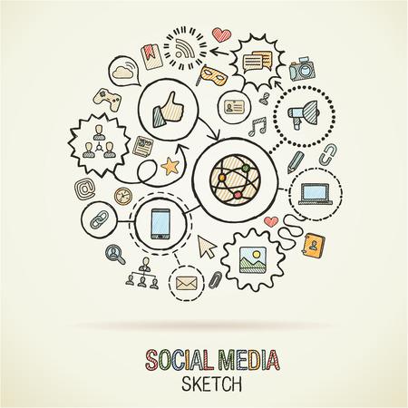 lien: Social mediahand dessin icônes de hachures. Vecteur doodle intégré jeu de pictogramme. Croquis illustrations infographiques sur papier: internet, numérique, le marketing, les médias, se connecter, de la technologie, concepts mondiaux connectés Illustration