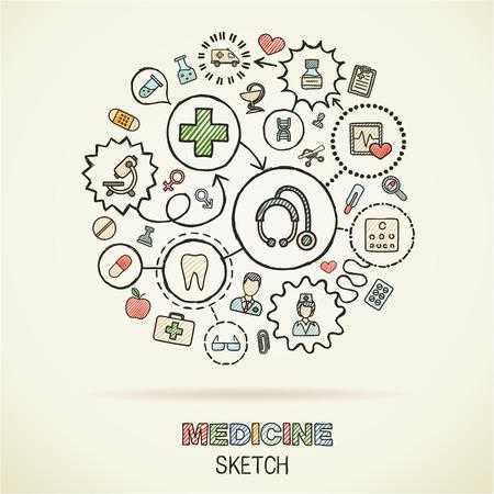 Medicalhand dibujo iconos conectados. Vector Doodle conjunto pictograma interactiva. Concepto de ilustración Sketch en papel: Asistencia sanitaria, salud, cuidado, medicina, farmacia, social. Resumen de antecedentes. Vector infografía.