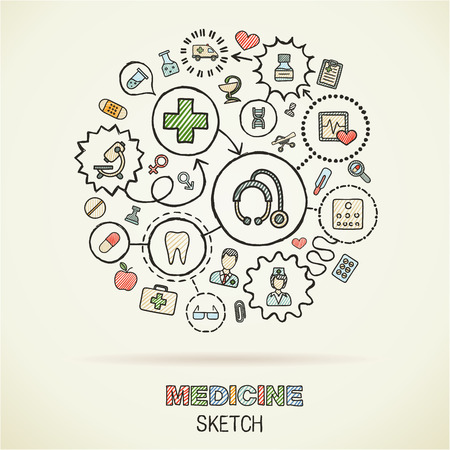 Medicalhand drawing connected icons. Vector doodle interactive pictogram set. Sketch concept illustration on paper: Healthcare, health, care, medicine, pharmacy, social. Abstract background. Vector infographic.