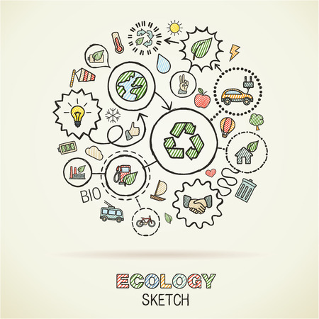 Ecologyhand drawing integrated icons. Vector doodle connected pictogram set: sketch interaction illustration on paper: eco friendly, energy, environment, green, recycle, bio and global concepts Vettoriali