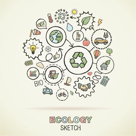 niños reciclando: Ecologyhand dibujo iconos integrados. Conjunto del vector del doodle conectada pictograma: Ilustración interacción boceto en papel: respetuoso del medio ambiente, energía, ambiente, verde, recicle, bio y conceptos globales Vectores