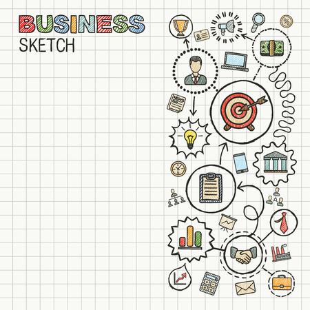mision: Negocios mano dibujar iconos integrados establecidos. Dibujo vectorial colorido infografía ilustración. Pictogramas del doodle conectados en papel: estrategia, misión, servicio, análisis, marketing, conceptos interactivos