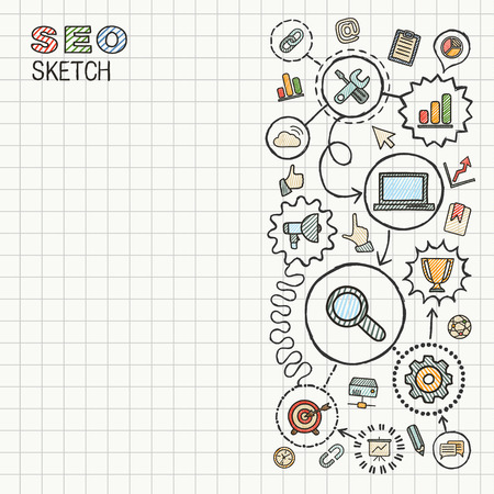 seo process: SEO hand draw integrated icons set on paper. Colorful vector sketch infographic illustration. Connected doodle pictograms: marketing, network, analytic, technology, optimize, interactive concept