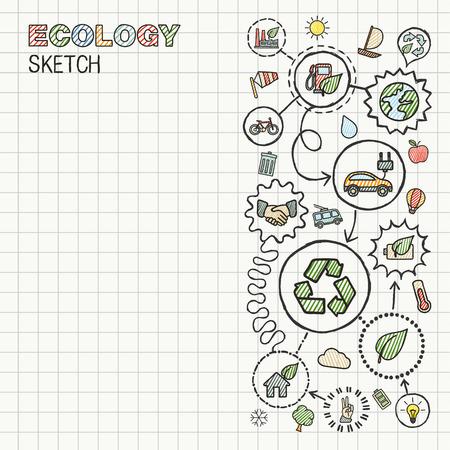 educacion ambiental: Ecología mano dibujar iconos integrados establecidos sobre papel cuadriculado. Color de dibujo vectorial infografía ilustración. Pictogramas del doodle de conexión:, bio, energía, reciclar, coche, planeta, los conceptos verdes eco amigable