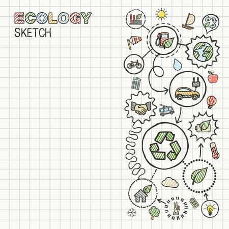 eco icon: Ecology hand draw integrated icons set on squared paper. Color vector sketch infographic illustration. Connected doodle pictograms: eco friendly, bio, energy, recycle, car, planet, green concepts
