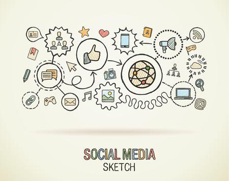 Social part des médias dessiner intégrer icônes fixées sur papier. Colorful dessin vectoriel illustration infographie. Connected doodle pictogramme: internet, numérique, marketing, réseau, concept interactif mondial Illustration