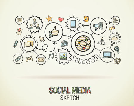 Social media hand draw integrate icons set on paper. Colorful vector sketch infographic illustration. Connected doodle pictogram: internet, digital, marketing, network, global interactive concept
