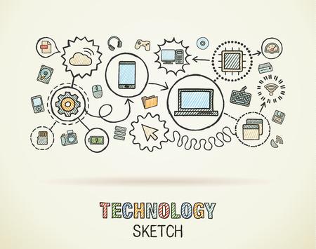 integrer: Technologie tirage de la main int�grer ic�nes fix�es sur papier. Colorful dessin vectoriel illustration infographie. Connect� pictogrammes de griffonnage: internet, num�rique, march�, m�dias, informatique, concept interactif de r�seau Illustration