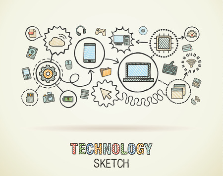 Technology hand draw integrate icons set on paper. Colorful vector sketch infographic illustration. Connected doodle pictograms: internet, digital, market, media, computer, network interactive concept Ilustração
