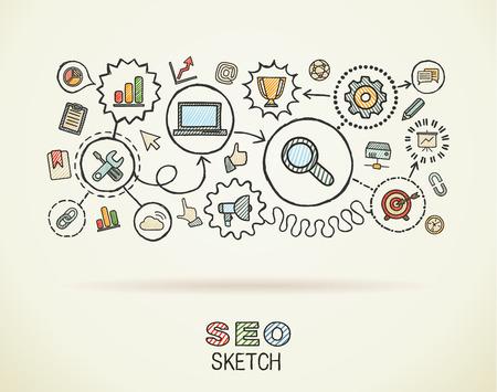 redes de mercadeo: Mano SEO dibujar iconos integrados establecidos en el papel. Dibujo vectorial colorido infografía ilustración. Pictogramas del doodle de conexión: comercialización, red, analítica, la tecnología, optimizar concepto interactivo Vectores