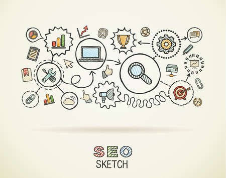 SEO hand draw integrated icons set on paper. Colorful vector sketch infographic illustration. Connected doodle pictograms: marketing, network, analytic, technology, optimize, interactive concept
