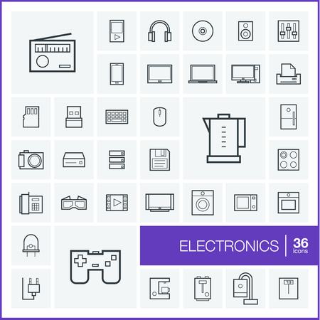multimedia pictogram: Vector thin line icons set and graphic design elements. Illustration with electronics, multimedia and technology outline symbols. Music, film, phones, joystick, video, kitchen gadgets linear pictogram