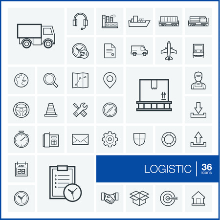 logistic: Vector thin line icons set and graphic design elements. Illustration with Logistic, delivery business, distribution outline symbols. Service, export, shipping, transport linear pictogram