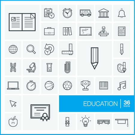 Vector thin line icons set and graphic design elements. Illustration with education, online learning, think outline symbols. Book, microscope, calculator, pen, elearning, teacher linear pictogram