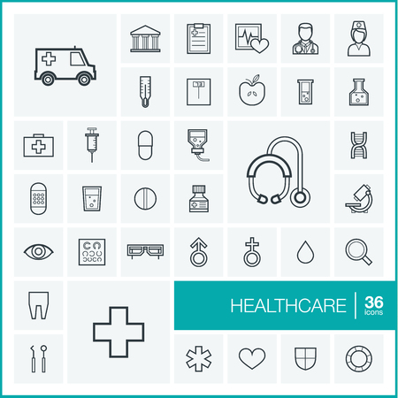 Vector thin line icons set and graphic design elements. Illustration with medical, medicine and healthcare outline symbols. Dentist, health, ambulance, care, doctor, pills, cross linear pictogram