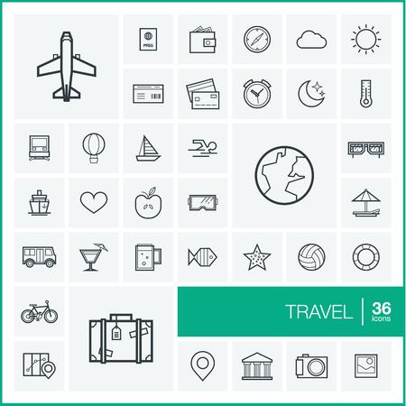 Vector iconos de líneas finas y establecen elementos de diseño gráfico. Ilustración con símbolos de viajes, turismo contorno. Planificación, verano, vacaciones, avión, mapa, maletas, gafas de sol pictograma lineal