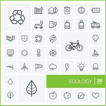 reciclar: Vector iconos de l�neas finas y establecen elementos de dise�o gr�fico. Ilustraci�n con s�mbolos de esquema ecolog�a. Eco, bio, medio ambiente, reciclar pictograma lineal Vectores