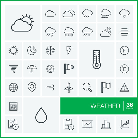 meteo: Vector thin line icons set and graphic design elements. Illustration with meteo outline symbols. Weather cast, cloud, rain, snow, moon, thermometer, umbrella linear pictogram