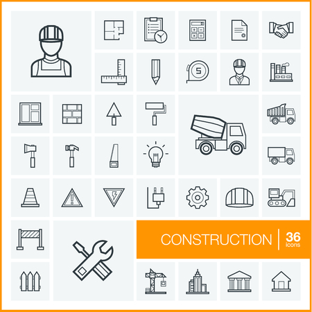 industrial icon: Vector thin line icons set and graphic design elements. Illustration with construction, industrial, architectural, engineering outline symbols. Home repair tools, worker, building linear pictogram Illustration