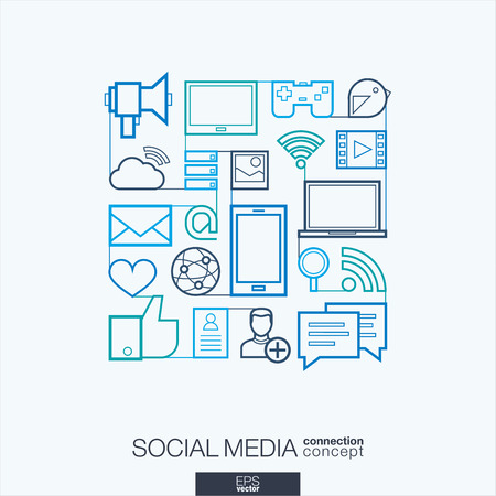 digital illustration: Social media integrated thin line symbols. Modern linear style vector concept, with connected flat design icons. Illustration for digital network, internet, communicate, technology, global concepts. Illustration