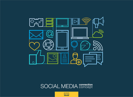 communicate concept: Social media integrated thin line symbols. Modern linear style vector concept, with connected flat design icons. Illustration for digital network, internet, communicate, technology, global concepts. Illustration