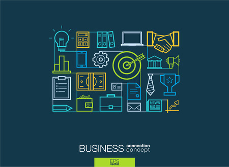 motivation: Business integrated thin line symbols. Modern linear style vector concept, with connected flat design icons. Illustration for strategy, service, analytics, research, career, digital marketing concepts