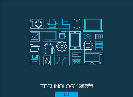 computer system: Technology integrated thin line symbols. Modern linear style vector concept, with connected flat design icons. Illustration for digital, internet, network, social media, cloud, global concepts.