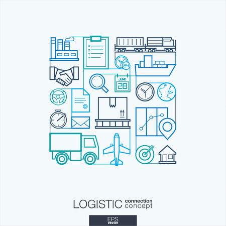 Logistic integrated thin line symbols. Modern linear style vector concept, with connected flat design icons. Illustration for delivery, service, shipping, distribution, transport, communicate concepts Vectores