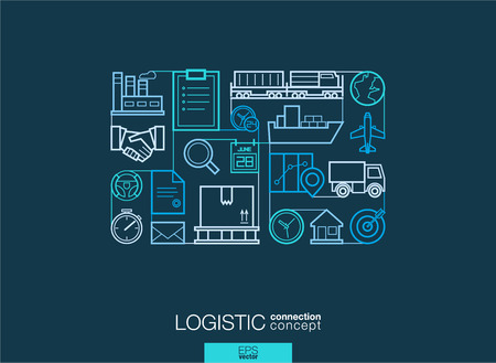 Logistic integrated thin line symbols. Modern linear style vector concept, with connected flat design icons. Illustration for delivery, service, shipping, distribution, transport, communicate concepts Vettoriali