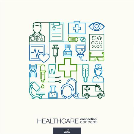 gezondheid: Healthcare geïntegreerde dunne lijn symbolen. Modern lineaire stijl vector concept, met aangesloten platte design iconen. Abstracte illustratie voor medische, gezondheid, zorg, geneeskunde, netwerk en wereldwijde concepten. Stock Illustratie