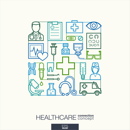 integrated: Healthcare integrated thin line symbols. Modern linear style vector concept, with connected flat design icons. Abstract illustration for medical, health, care, medicine, network and global concepts.