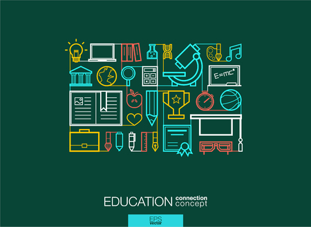 elearning: Education integrated thin line symbols. Modern linear style vector concept, with connected flat design icons. Abstract background illustration for elearning, knowledge, learn and global concepts.