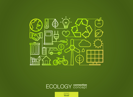 global environment: Ecology integrated thin line symbols. Modern linear style vector concept, with connected flat design icons. Illustration for eco friendly, energy, environment, green, recycle, bio and global concepts.