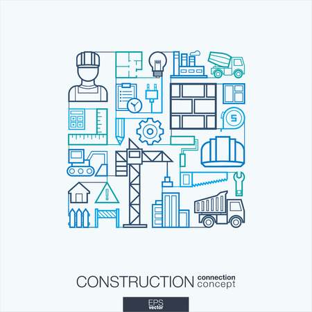 industry design: Construction integrated thin line symbols. Modern linear style vector concept, with connected flat design icon. Abstract background illustration for build, industry, architectural, engineering concept