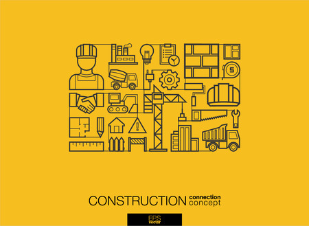 Construction integrated thin line symbols. Modern linear style vector concept, with connected flat design icon. Abstract background illustration for build, industry, architectural, engineering concept
