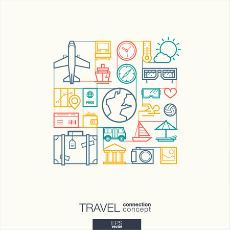 student travel: Travel integrated thin line symbols. Modern linear style vector concept, with connected flat design icons. Abstract background illustration for tourism, holiday, trip, summer, vacation concepts.