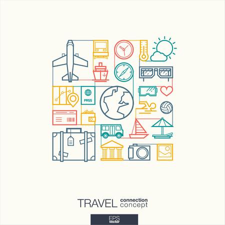 Viaggi integrato simboli linea sottile. Moderno concetto di vettore stile lineare, con i connessi icone del design piatto. Illustrazione sfondo astratto per il turismo, vacanza, viaggio, estate, concetti di vacanza. Vettoriali